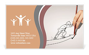 Cartoon man rises Business Card Template