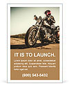 Biker girl sits on a motorcycle Ad Template