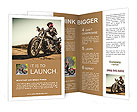 Biker girl sits on a motorcycle Brochure Templates