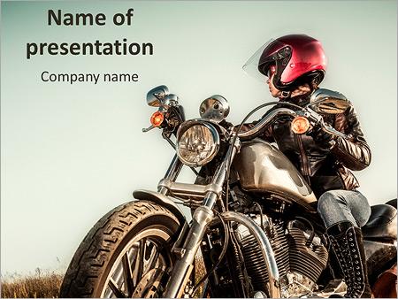 Motorbike powerpoint template smiletemplates biker girl sits on a motorcycle powerpoint template toneelgroepblik Image collections