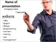 Бизнесмен строит концепцию проекта Шаблоны презентаций PowerPoint
