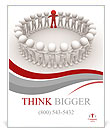 3d people - human character in circle with leadership.3d render illustration Poster Template