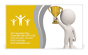 The image of the winner and his awards Business Card Templates