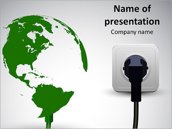 Image of the globe and the power supply PowerPoint Template