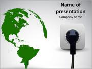 Image of the globe and the power supply PowerPoint Templates
