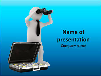 Man with binocular on white background. Isolated 3d image PowerPoint Template