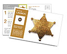 Old sheriff star from the wild west era isolated on white with a carefully drawn clippin path Postcard Template
