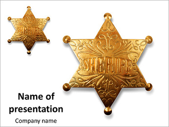 Old sheriff star from the wild west era isolated on white with a carefully drawn clippin path PowerPoint Template