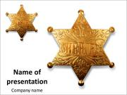 Old sheriff star from the wild west era isolated on white with a carefully drawn clippin path PowerPoint Templates
