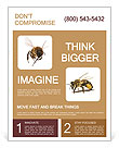 Flight of bees on a white background Flyer Template