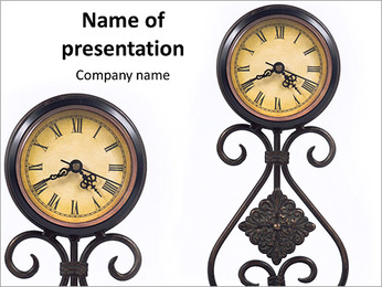 Old clock on a white background PowerPoint Template