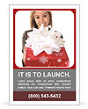 Pretty girl holding a gift Ad Template