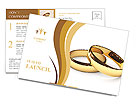 Wedding rings on a white background Postcard Templates