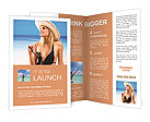 Beautiful girl in hat on the beach Brochure Templates