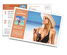 Beautiful girl in hat on the beach Postcard Template