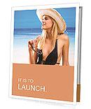 Beautiful girl in hat on the beach Presentation Folder