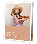 A girl shows beautiful apples Presentation Folder