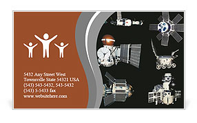 Orbiting satellites Business Card Template