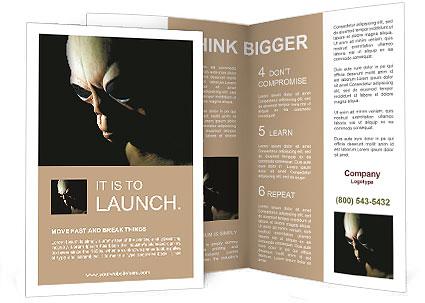 alien ufo on a black background brochure template