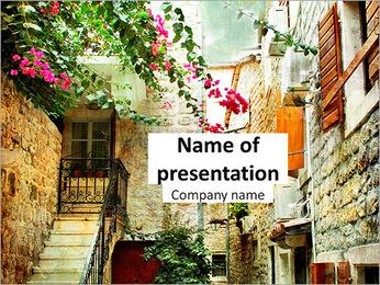 Old courtyard in Croatia PowerPoint Template