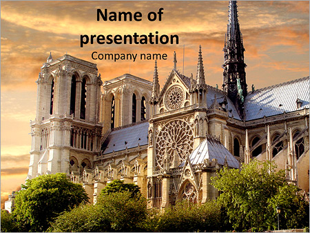 notre dame, paris, france sunset powerpoint template & backgrounds, Modern powerpoint
