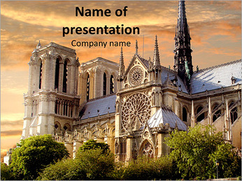 Notre Dame, Paris, France Sunset PowerPoint Template