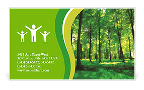 Beautiful thick green forest Business Card Templates