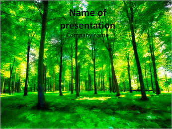 Beautiful thick green forest PowerPoint Template