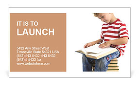 Child sitting on the books of knowledge Business Card Template