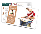 Child sitting on the books of knowledge Postcard Templates