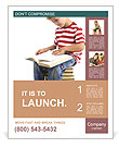 Child sitting on the books of knowledge Poster Templates
