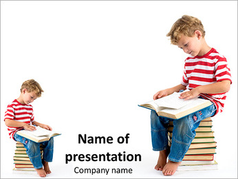 Child sitting on the books of knowledge PowerPoint Template