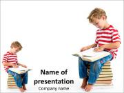 Child sitting on the books of knowledge PowerPoint Templates