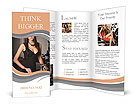 Elegant woman in a black dress in the casino Brochure Templates
