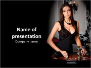 Elegant woman in a black dress in the casino PowerPoint Templates