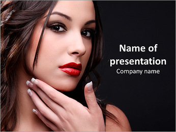 Young cute woman on a black background PowerPoint Template