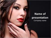 Young cute woman on a black background PowerPoint Templates