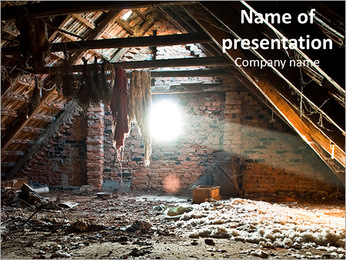 Mount debris on the old attic sunlight PowerPoint Template