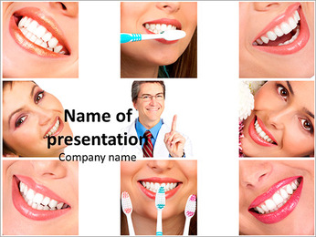 Collage of female smiles prevention of dental disease PowerPoint Template