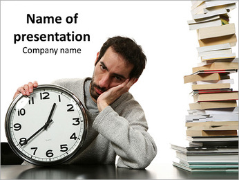 Reading the books tired man PowerPoint Template