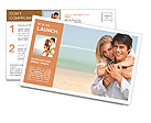 Happy couple on the beach Postcard Template