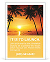 Palm trees and a beautiful summer sunset Ad Template