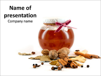 Jar of honey and spices PowerPoint Template