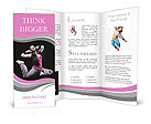 Beautiful dancer jumping on dark Brochure Templates
