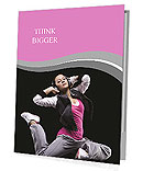 Beautiful dancer jumping on dark Presentation Folder