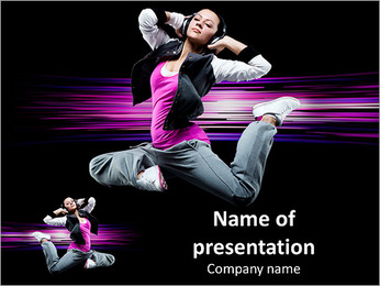 Attractive girl in modern dance PowerPoint Template