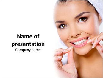 Incredibly beautiful model brushes his teeth with dental floss PowerPoint Template