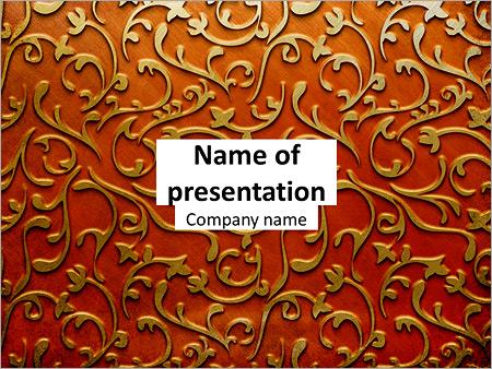 Ornement d'or sur un fond rouge Modèles des présentations  PowerPoint