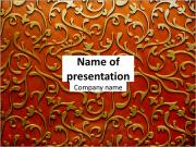 Gold ornament on a red background PowerPoint Templates