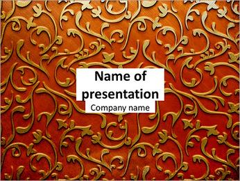 Ornement d'or sur un fond rouge Modèles des présentations  PowerPoint - Diapositives 1